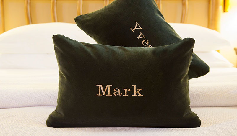 Personal Service can include Personalized Pillows at The Hacienda in Gay Palm Springs
