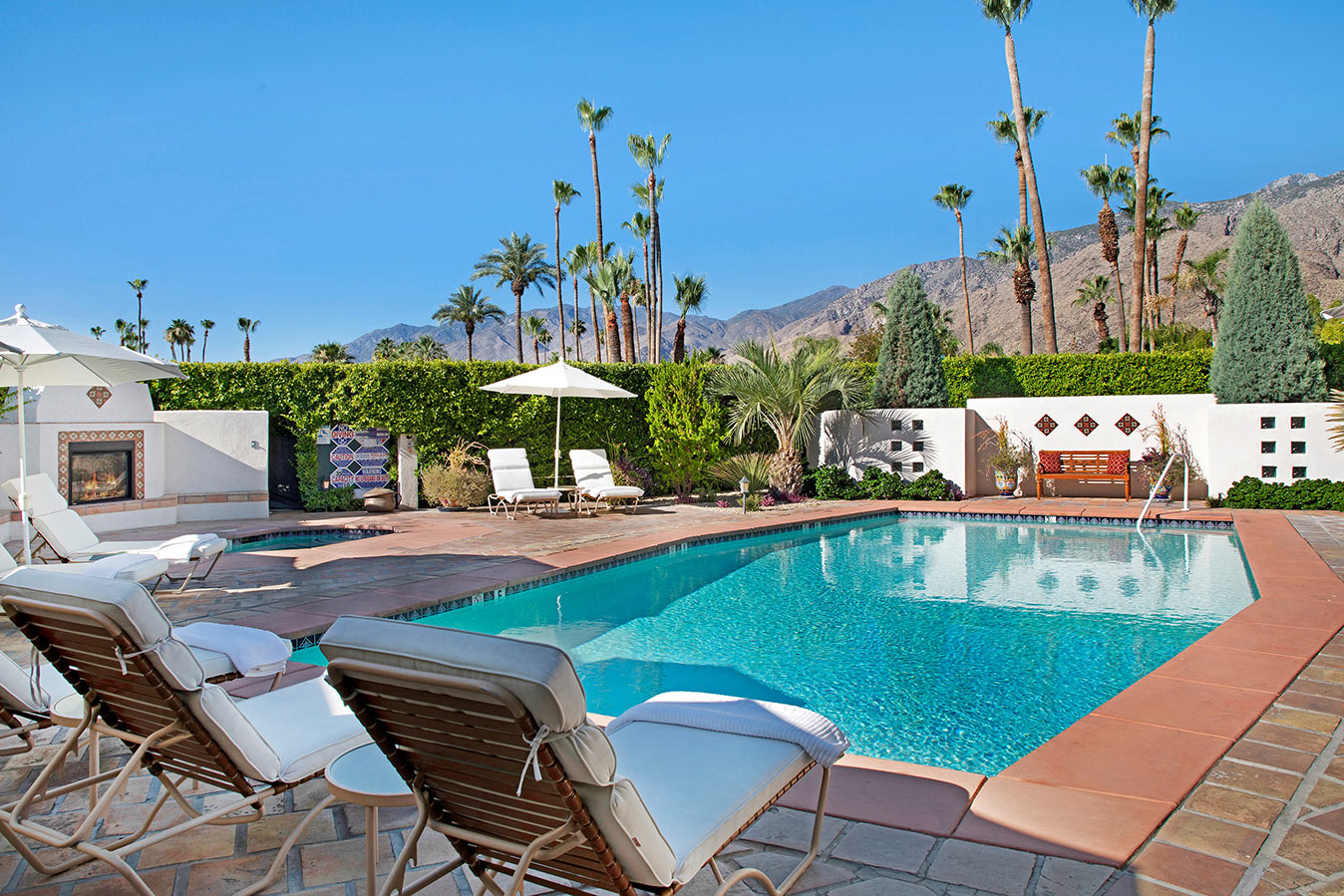 Pool deck view at The Hacienda in Gay Palm Springs