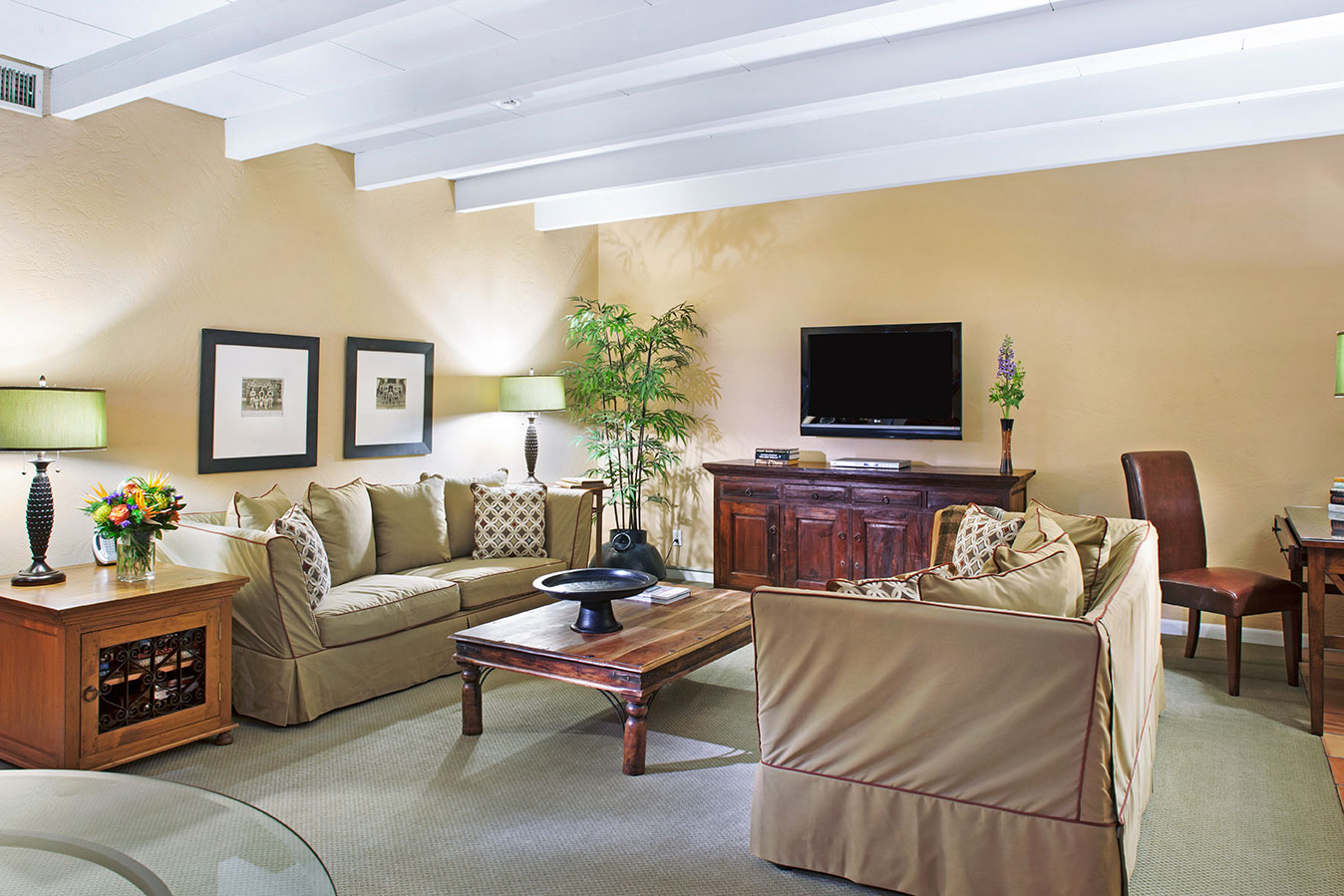 Grand Deluxe Suite living room at The Hacienda in Gay Palm Springs