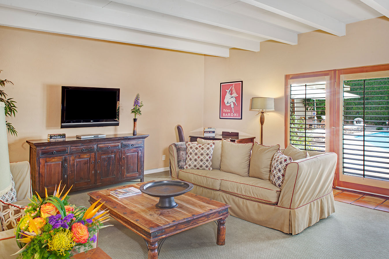Grand Deluxe Suite living room in daytime at The Hacienda Gay Resort